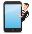 cartoon man pointing smartphone vector image vector image