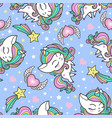 cartoon seamless pattern with unicorns sweets vector image vector image