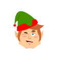christmas elf winks emoji santa helper emotion vector image