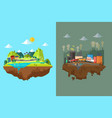 comparison of clean city and polluted city vector image