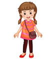 cute little girl standing on white background vector image vector image