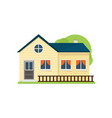 cute yellow american house with wood fence near vector image