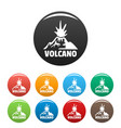 erupting volcano icons set color vector image vector image