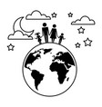 family in planet earth silhouette avatars vector image vector image