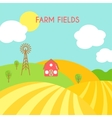 Farm fields landscape Cartoon green field of vector image vector image