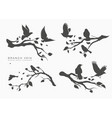 figure set flock flying birds on tree vector image vector image