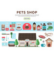 flat pets shop elements collection vector image vector image