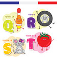 french alphabet skittles wheel mouse tomato vector image vector image