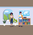 girl and boy with education book in the classroom vector image