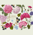greeting card with blooming roses geraniums vector image vector image
