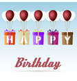 happy birthday gift package soaring with helium vector image