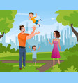 happy family walking playing in summer city park vector image
