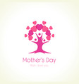 happy mothers day pink tree with mom and children vector image