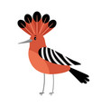 hoopoe cartoon bird icon vector image vector image