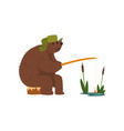 humanized male bear character catching fish with vector image vector image