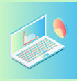 isometric laptop with graphics in gradient colors vector image vector image