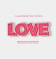 love text effect vector image vector image