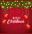merry christmas card border decoration branch tree vector image vector image