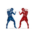 muay thai thai boxing standing ready to fight vector image vector image