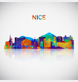 nice skyline silhouette in colorful geometric vector image