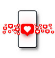 phone heart like social network white background vector image vector image