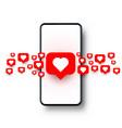 phone heart like social network white background vector image