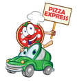 pizza express delivery car cartoon with signboard vector image vector image