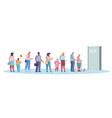 queue in doorway flat style design vector image vector image