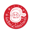 round christmas greeting with santa face vector image vector image