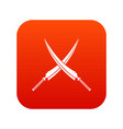 samurai swords icon digital red vector image vector image