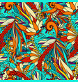 seamless pattern with abstract flowers and leaves vector image vector image