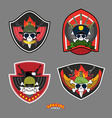 Set military and armed labels logo Skull vector image vector image