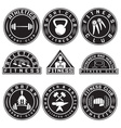set various fitness labels and design elements vector image