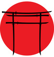 silhouette torii gate with japanese swords vector image