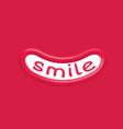 smile word inside wide cartoon joy emotion vector image vector image