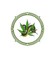 snake and cannabis logo design vector image