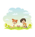 two children are happy about a flower in a meadow vector image vector image