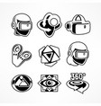 virtual reality icon set vector image