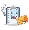 with envelope clipboard character cartoon style vector image