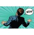 wow reaction man fear retro comic pop art vector image vector image