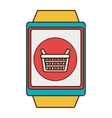 yellow square watch with shopping and media icon vector image vector image
