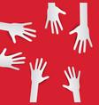 Paper Cut Hands Hands on Red Background Hands Set vector image