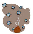a lot of flies in the dirty vector image vector image