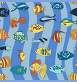 aquarium fish on the blue waves pattern vector image