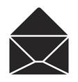 black silhouette of opened envelope vector image