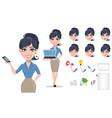 Business woman cartoon character creation set