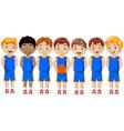 cartoon basketball kids team in uniform vector image vector image