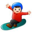 cartoon boy playing snowboa vector image