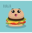 cartoon burger food fast facial expression design vector image vector image