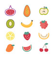cartoon color different types fruits icon set vector image vector image